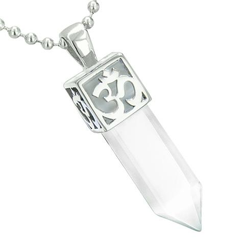 Positive Energy Ancient OM Amulet Magic Crystal Point Lucky Charm White Cats Eye Pendant Necklace