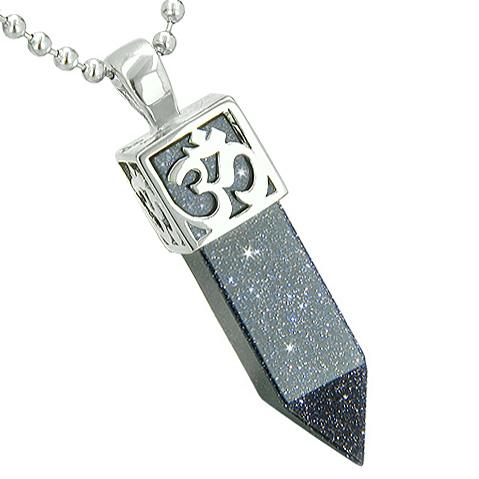 Positive Energy Ancient OM Amulet Magic Powers Crystal Point Lucky Charm Goldstone Pendant Necklace