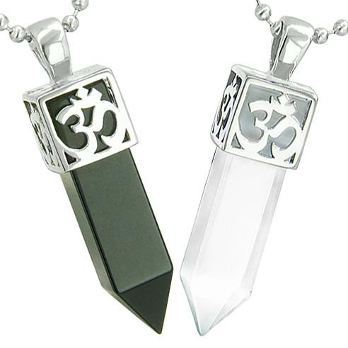 Positive Energy OM Yin Yang Powers Love Couple Amulet Crystal Points Onyx White Cats Eye Necklaces