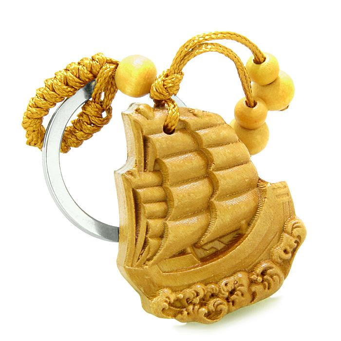 Amulet Sailing Yacht Boat Good Luck Powers Charms Freedom Powers Feng Shui Keychain Blessing