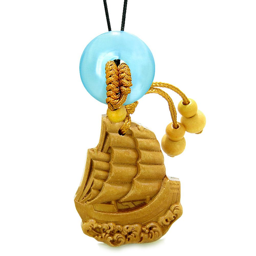Sailing Yacht Boat Magic Car Charm or Home Decor Blue Simulated Cats Eye Lucky Donut Protection Amulet