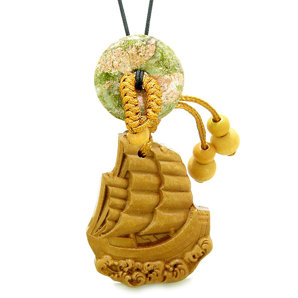 Sailing Yacht Boat Magic Car Charm or Home Decor Unakite Lucky Donut Protection Powers Amulet