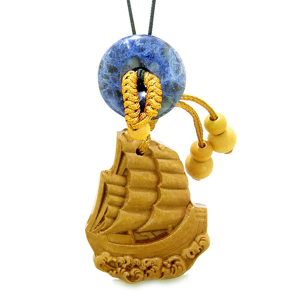 Sailing Yacht Boat Magic Car Charm or Home Decor Sodalite Lucky Donut Protection Powers Amulet
