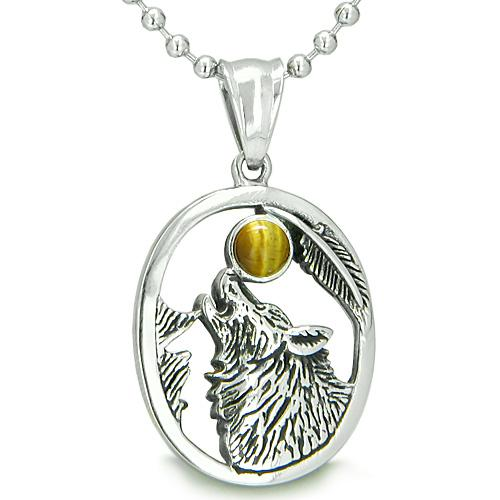 Amulet Courage Howling Wolf Tiger Eye Moon Gemstone Lucky Charm Pendant Necklace