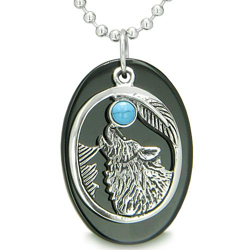 Amulet Courage Howling Wolf Moon Lucky Charm in Black Onyx Turquoise Pendant Necklace