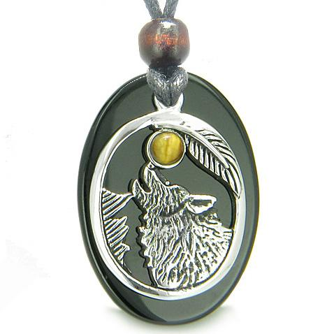 Amulet Courage Howling Wolf Moon Lucky Charm Onyx Tiger Eye Pendant Necklace