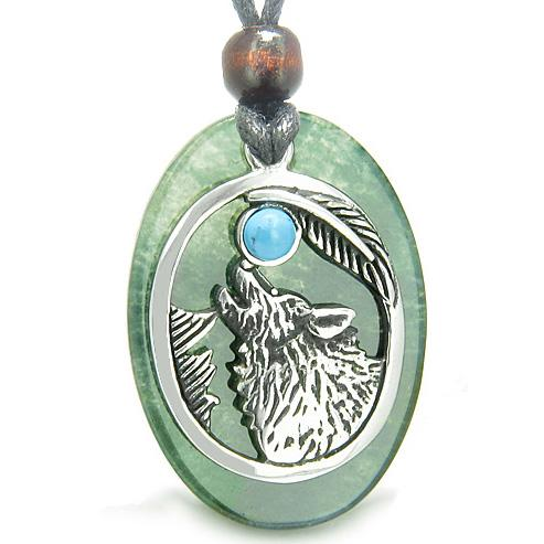 Amulet Courage Howling Wolf Moon Lucky Charm Green Onyx Turquoise Pendant Necklace