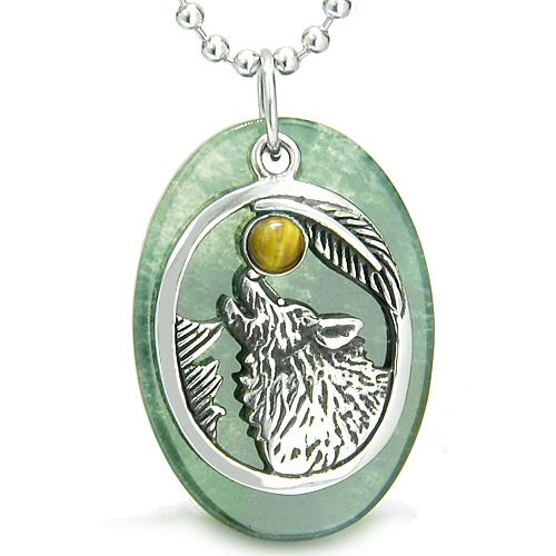 Amulet Courage Howling Wolf Moon Lucky Charm in Green Onyx Tiger Eye Pendant Necklace