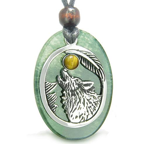Amulet Courage Howling Wolf Moon Lucky Charm Green Onyx Tiger Eye Pendant Necklace