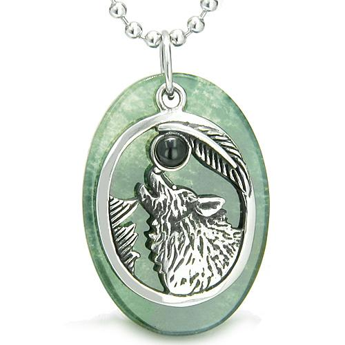 Amulet Courage Howling Wolf Moon Lucky Charm in Green Onyx Black Onyx Pendant Necklace