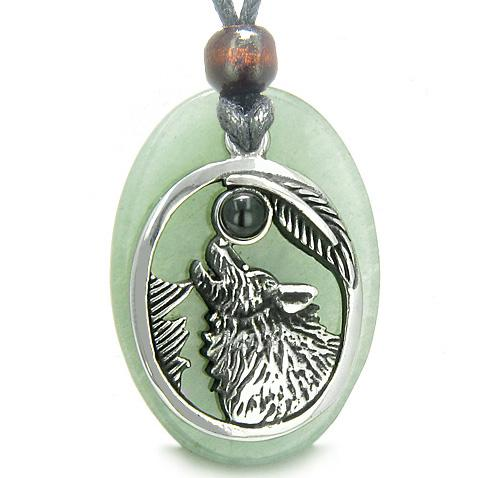 Amulet Courage Howling Wolf Moon Charm in Green Aventurine Onyx Gemstone Pendant Necklace