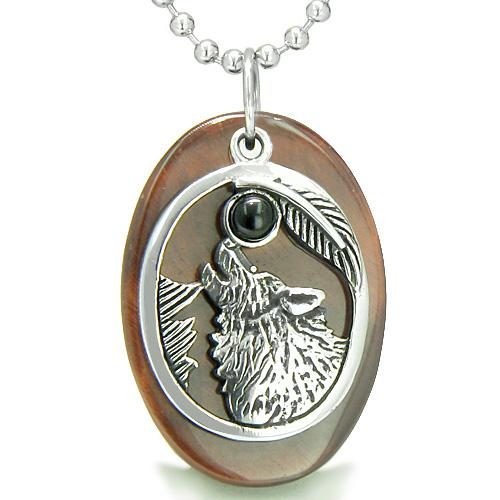 Amulet Courage Howling Wolf Moon Lucky Charm in Red Tiger Eye Black Onyx Pendant Necklace