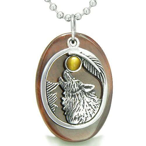 Amulet Courage Howling Wolf Moon Lucky Charm in Red Tiger Eye Tiger Eye Pendant Necklace