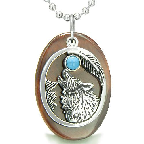 Amulet Courage Howling Wolf Moon Lucky Charm in Red Tiger Eye Turquoise Pendant Necklace