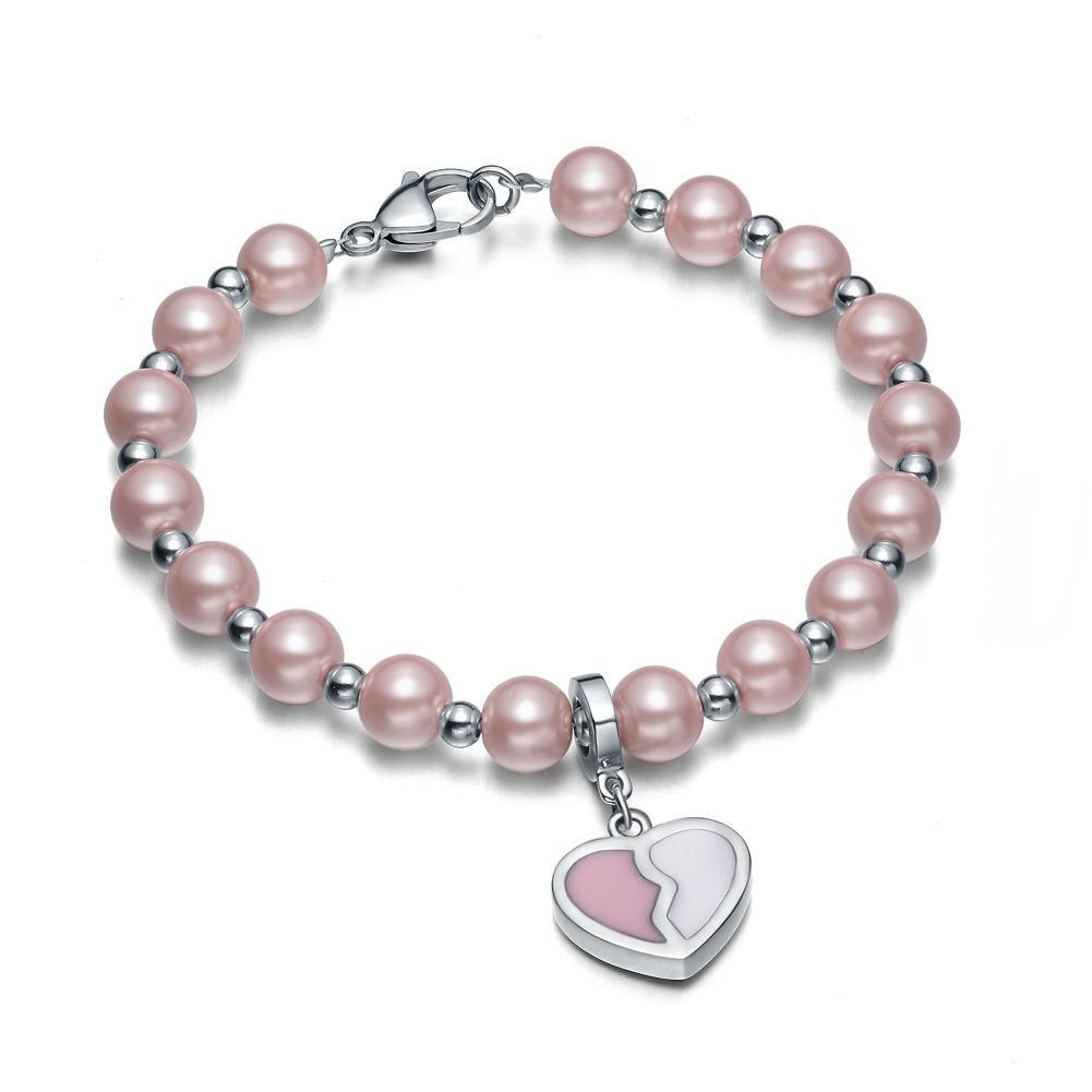 Amulet Positive Powers Simulated Pearl Cute Pink White Heart Yin Yang Magic Energy Elegant Bracelet