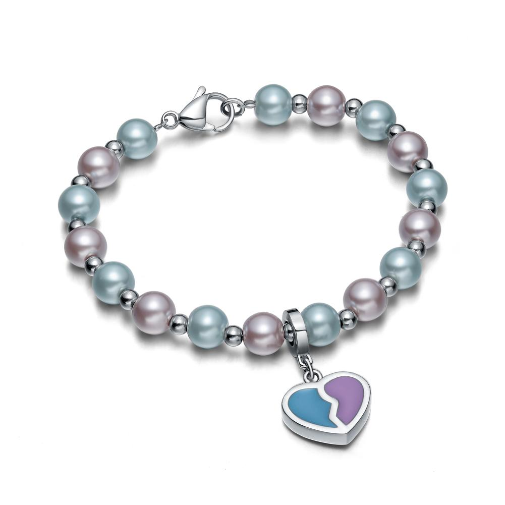 Amulet Positive Powers Simulated Pearl Purple Sky Blue Heart Yin Yang Magic Energy Elegant Bracelet