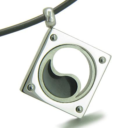 Amulet Yin Yang Balance Powers Stainless Steel Lucky Charm Pendant on Rubber Cord Necklace
