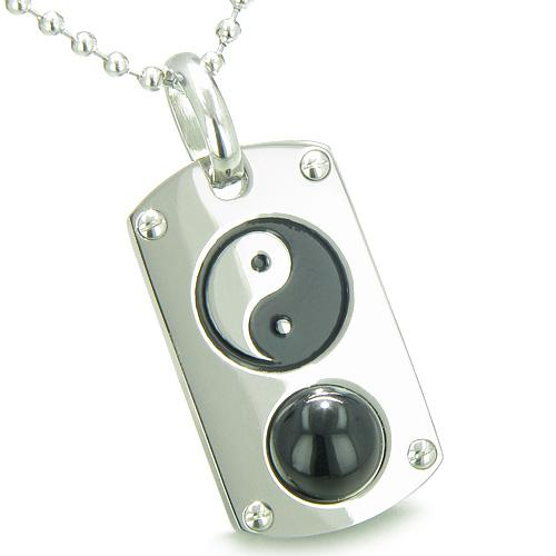 Positive Energy Magic Powers Yin Yang Amulet Crystal Dog Tag Lucky Charm Onyx Pendant Necklace