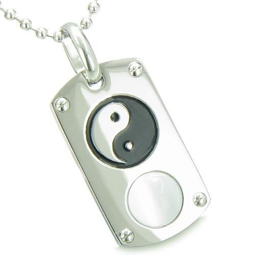 Positive Energy Magic Yin Yang Amulet Crystal Tag Lucky Charm White Cats Eye Pendant Necklace