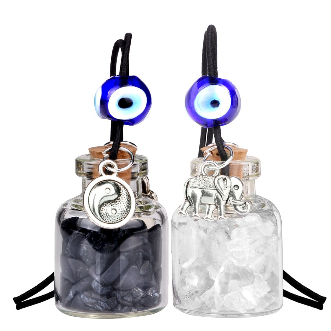 Lucky Elephant Yin Yang Love Couples Small Car Charms Home Decor Bottles Quartz Obsidian Amulets
