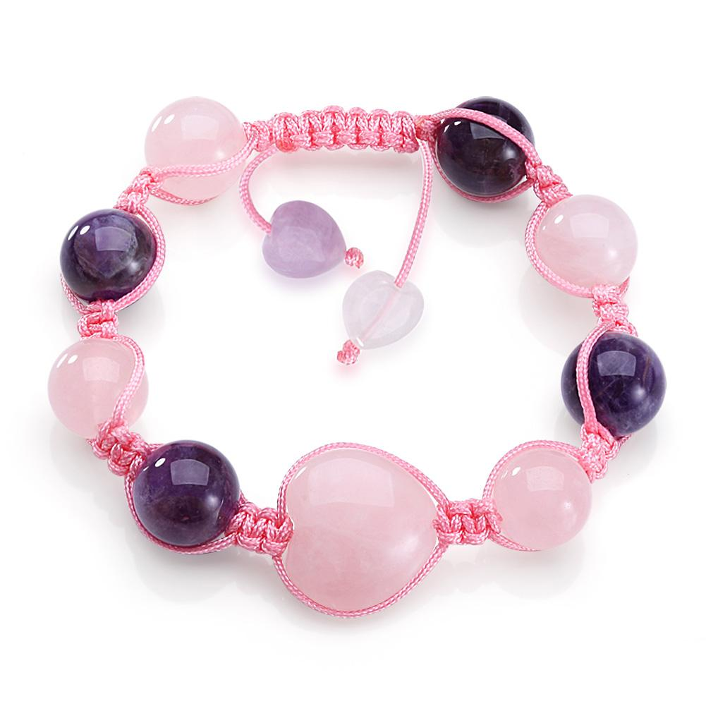 Magic Hearts Yin Yang Powers Amulet Rose Purple Quartz Gems Positive Energy Lucky Charms Bracelet