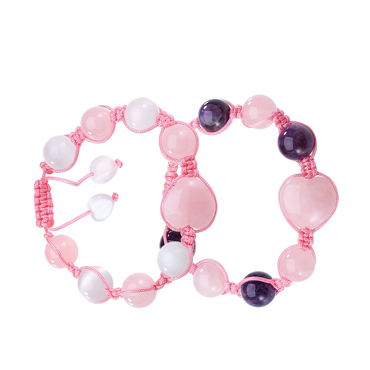 Yin Yang Hearts Love Couples or Best Friends Rose Purple Quartz White Simulated Cats Eye Bracelets