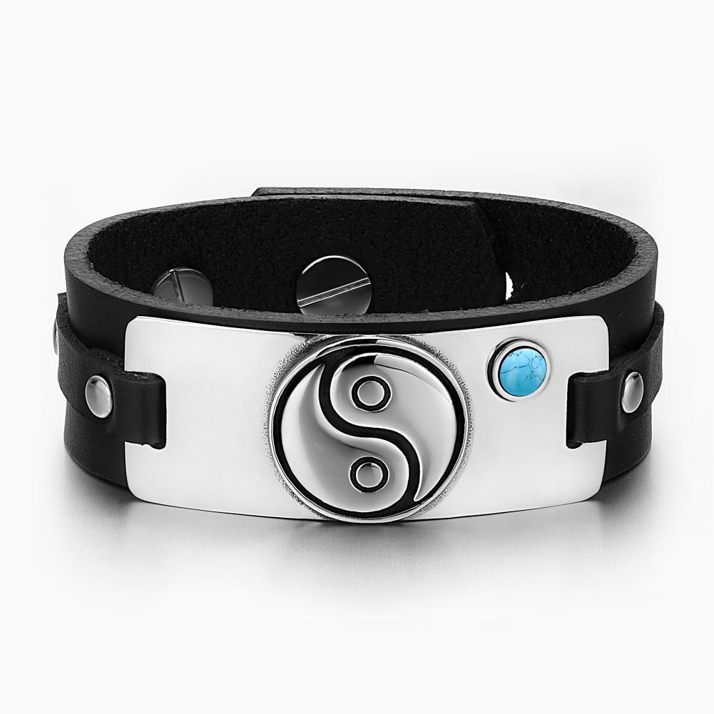 Yin Yang Balance Powers Magic Lucky Amulet Tag Simulated Turquoise Black Leather Bracelet