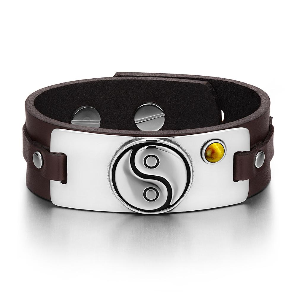 Yin Yang Balance Powers Magic Lucky Amulet Tag Tiger Eye Gemstone Dark Brown Leather Bracelet