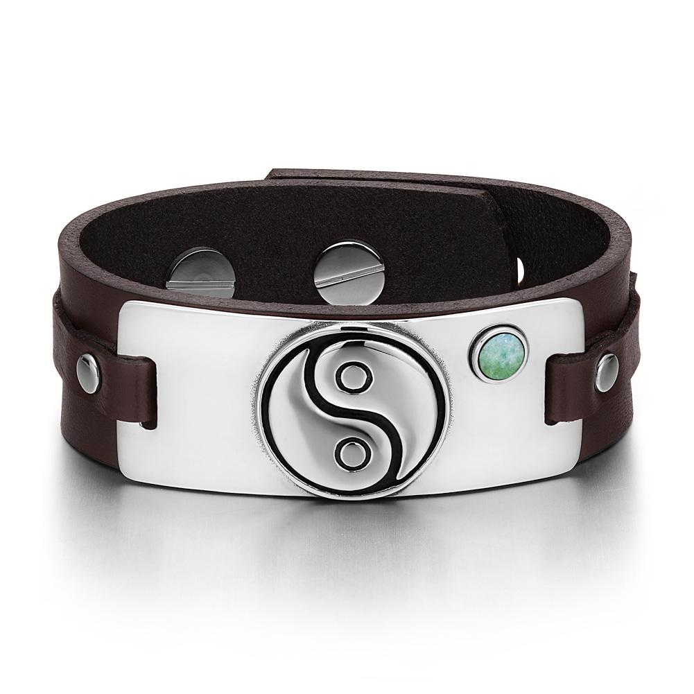 Yin Yang Balance Powers Magic Lucky Amulet Tag Green Quartz Gemstone Brown Leather Bracelet