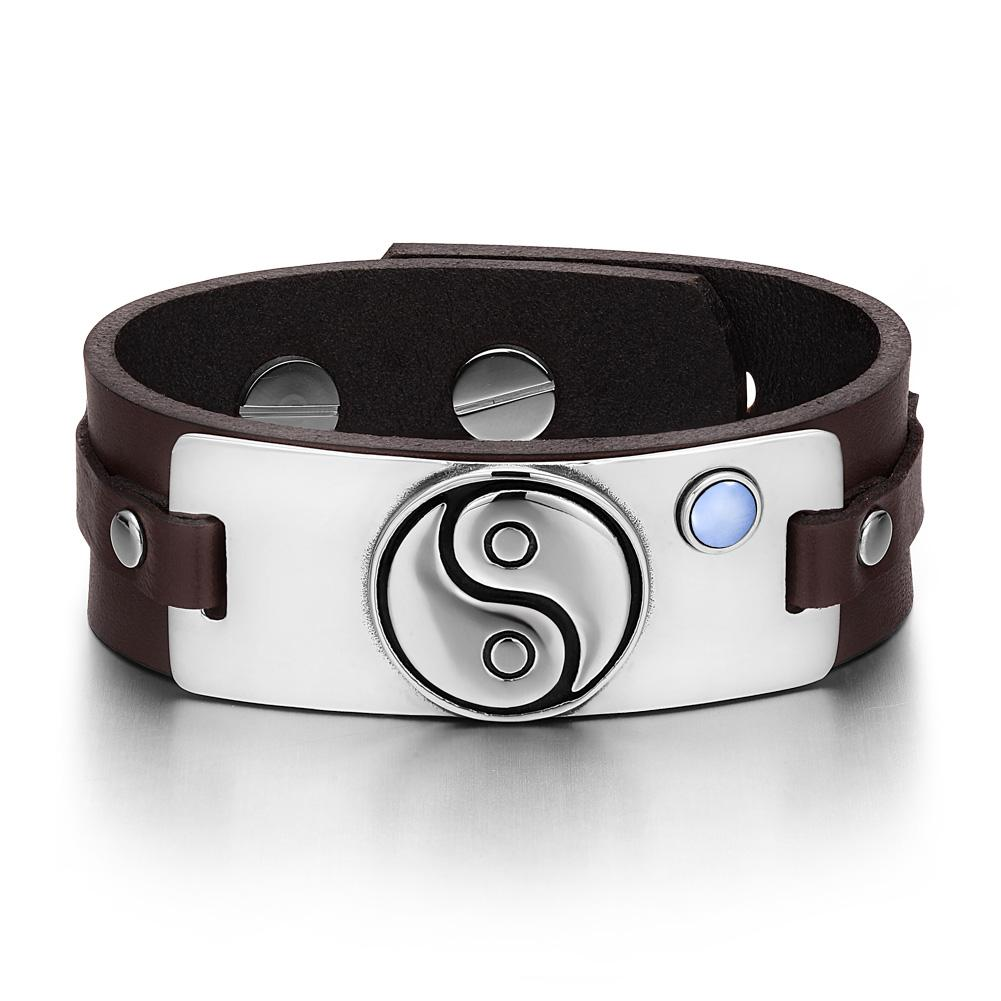 Yin Yang Balance Powers Magic Lucky Amulet Tag Blue Simulated Cats Eye Brown Leather Bracelet