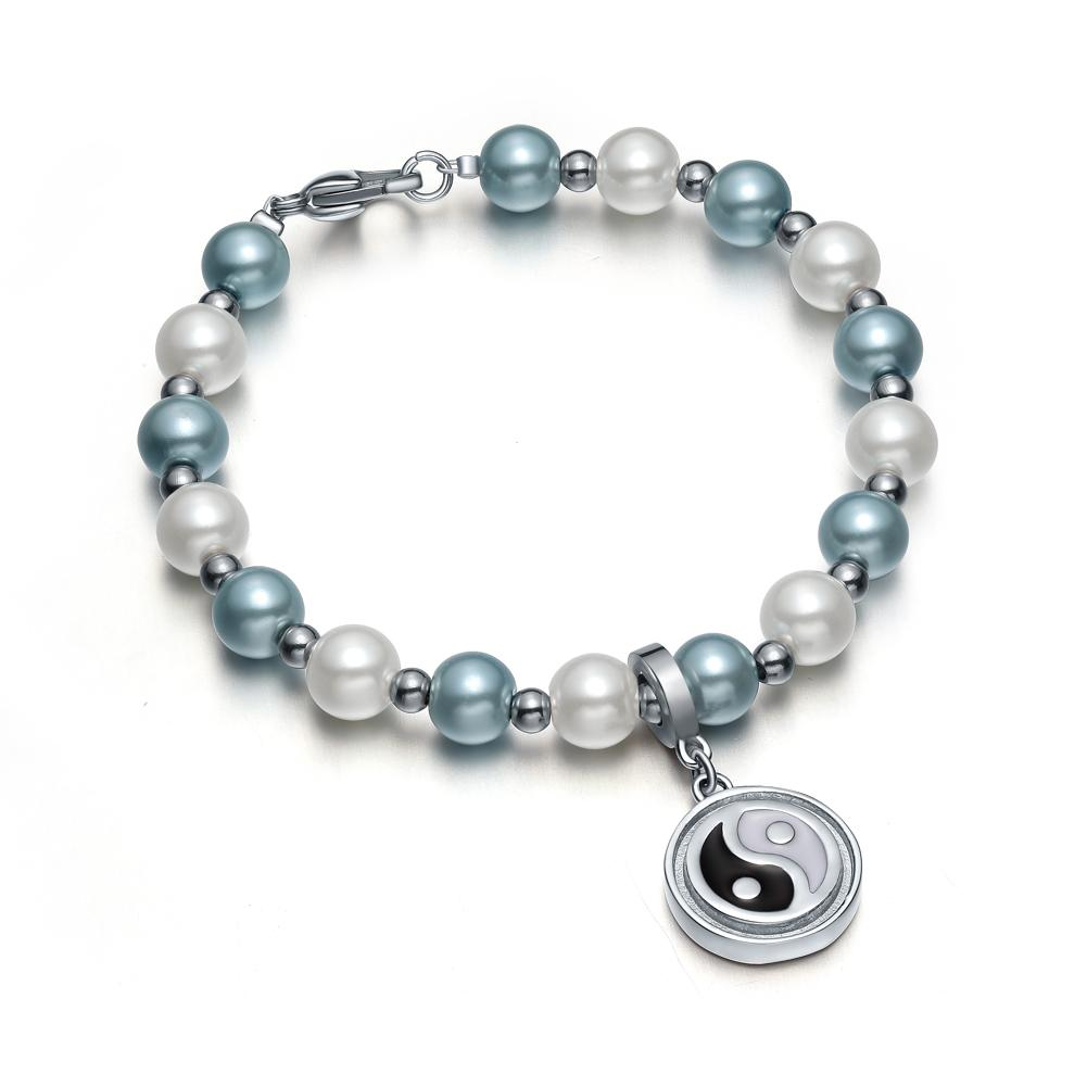 Amulet Positive Powers Simulated Pearl Sky Blue White Yin Yang Magic Circle Energy Elegant Bracelet