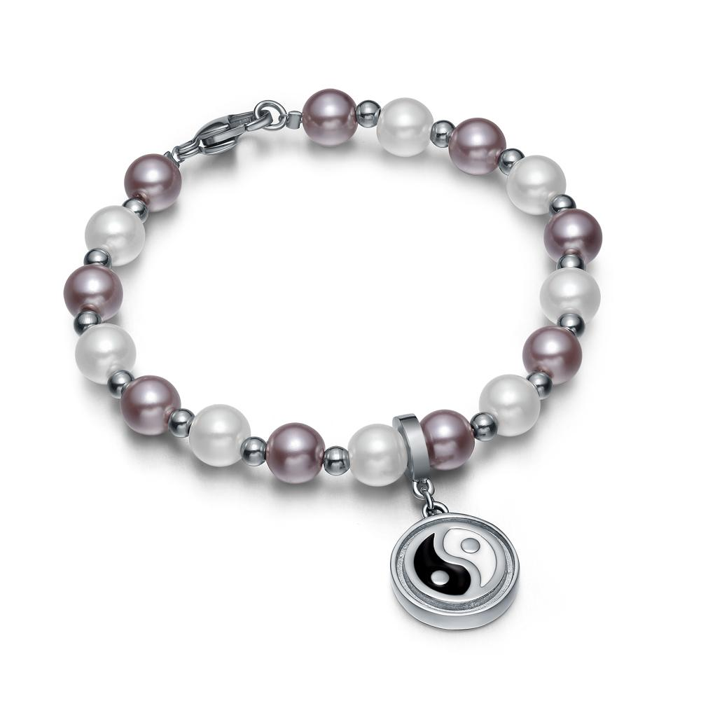 Amulet Positive Powers Simulated Pearl Purple White Yin Yang Magic Circle Energy Elegant Bracelet