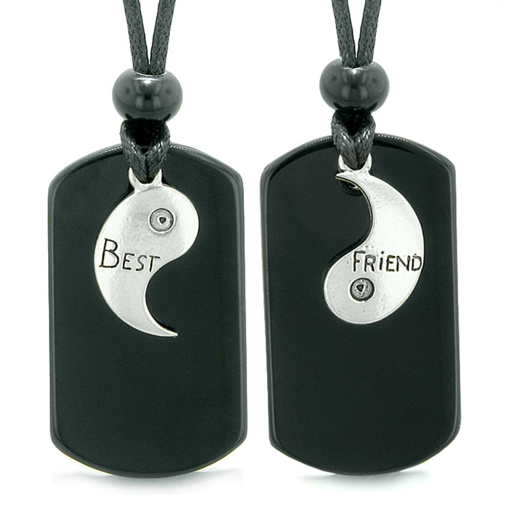 Yin Yang Best Friends BFF Set Magical Black Agate Tags Spiritual Protection Powers Adjustable Necklaces