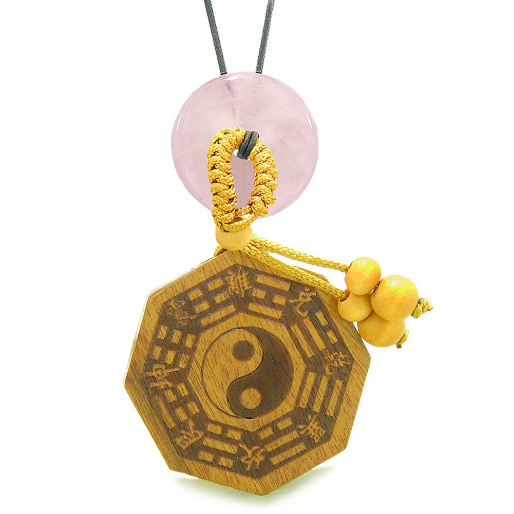 Yin Yang BaGua Trigrams Car Charm or Home Decor Rose Quartz Lucky Donut Protection Powers Amulet