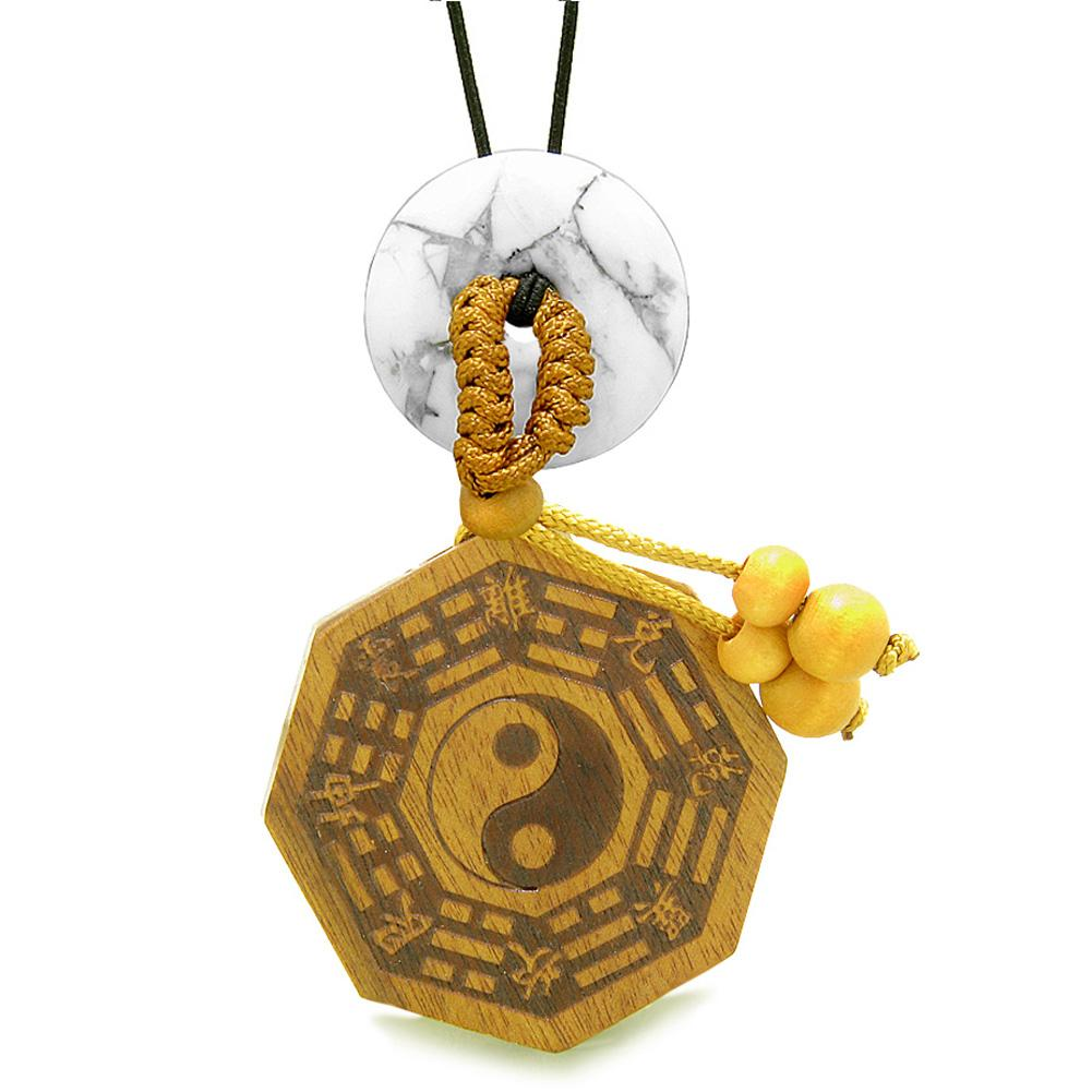 Yin Yang BaGua Trigrams Car Charm or Home Decor White Howlite Lucky Donut Protection Powers Amulet