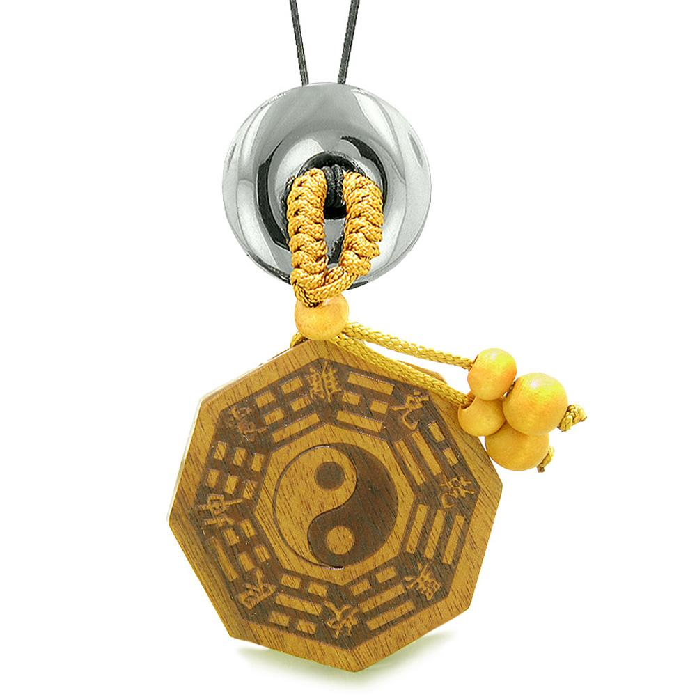 Yin Yang BaGua Trigrams Car Charm or Home Decor Hematite Lucky Donut Protection Powers Amulet