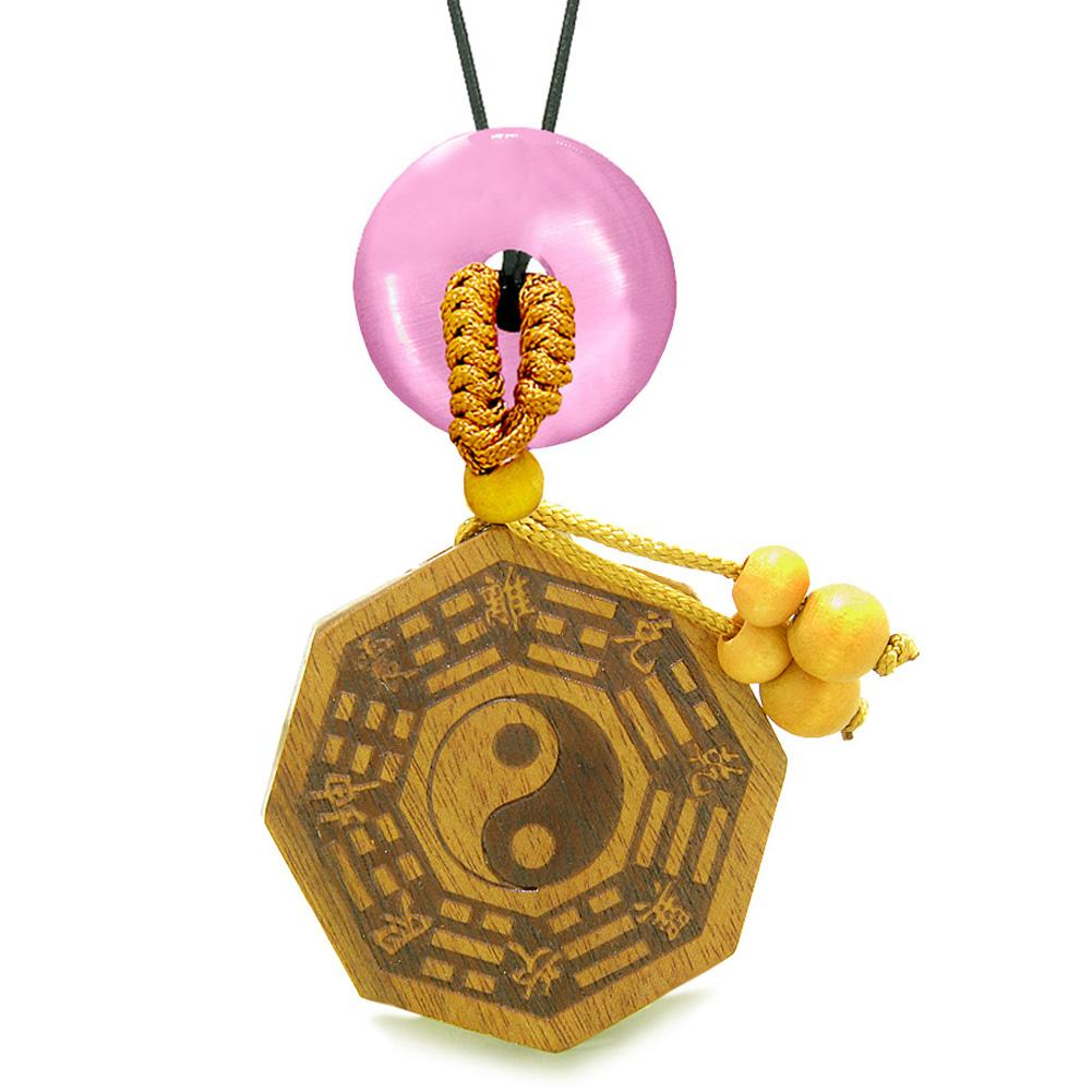 Yin Yang BaGua Trigrams Car Charm or Home Decor Pink Simulated Cats Eye Lucky Donut Protection Amulet