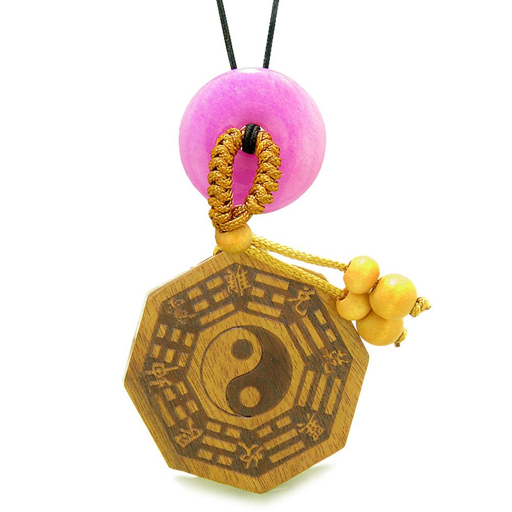 Yin Yang BaGua Trigrams Car Charm or Home Decor Pink Quartz Lucky Donut Protection Powers Amulet