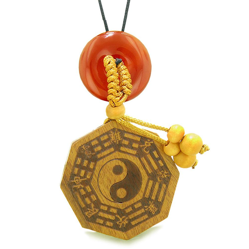 Yin Yang BaGua Trigrams Car Charm or Home Decor Carnelian Lucky Donut Protection Powers Amulet