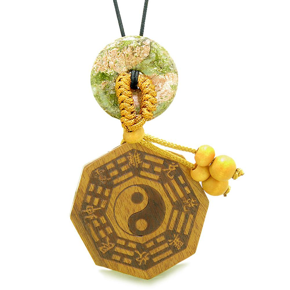 Yin Yang BaGua Trigrams Car Charm or Home Decor Unakite Lucky Donut Protection Powers Amulet
