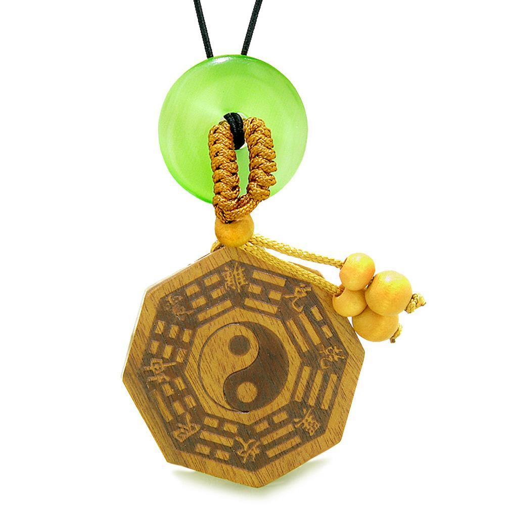 Yin Yang BaGua Trigrams Car Charm or Home Decor Green Simulated Cats Eye Lucky Donut Protection Amulet