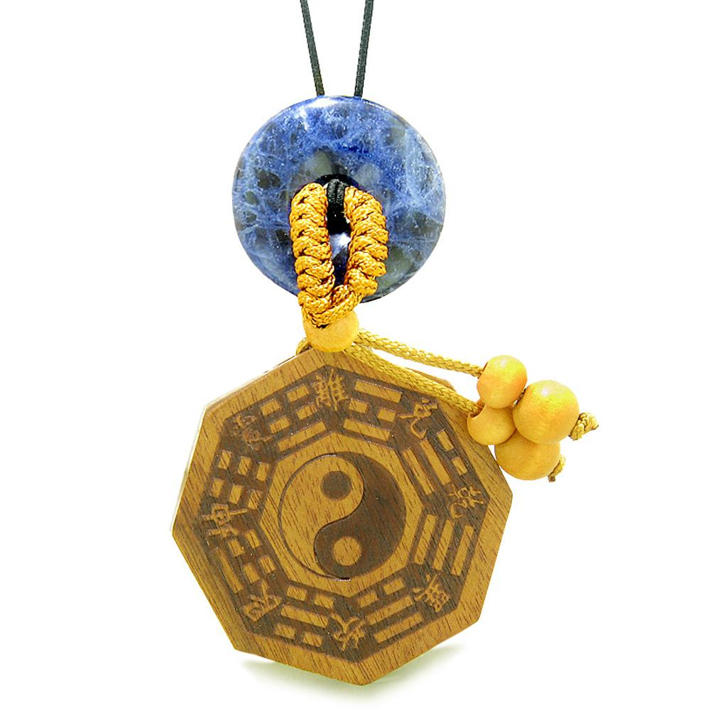 Yin Yang BaGua Trigrams Car Charm or Home Decor Sodalite Lucky Donut Protection Powers Amulet