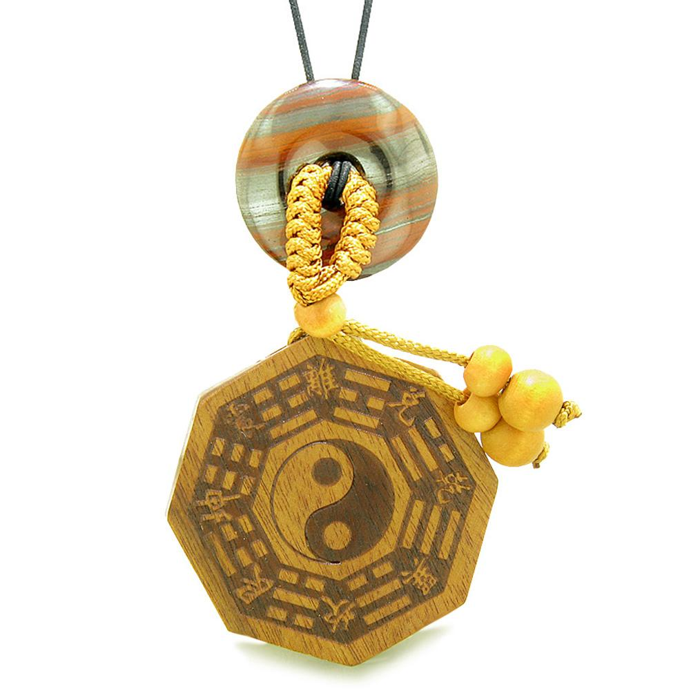 Yin Yang BaGua Trigrams Car Charm or Home Decor Dragon Eye Iron Lucky Donut Protection Powers Amulet