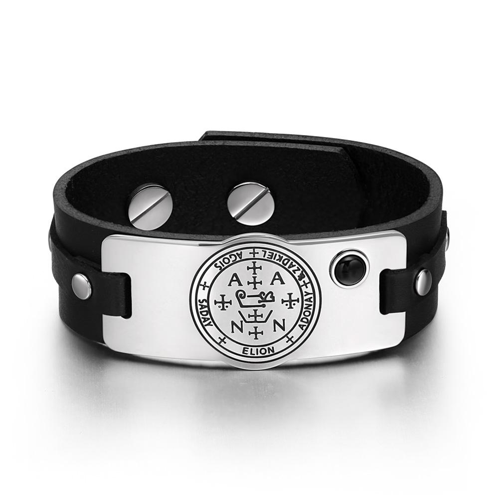 Archangel Zadkiel Sigil Magic Powers Amulet Simulated Black Onyx Adjustable Black Leather Bracelet