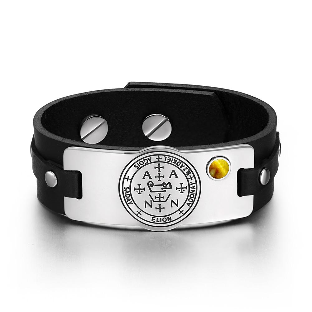 Archangel Zadkiel Sigil Magic Powers Amulet Tiger Eye Gemstone Adjustable Black Leather Bracelet