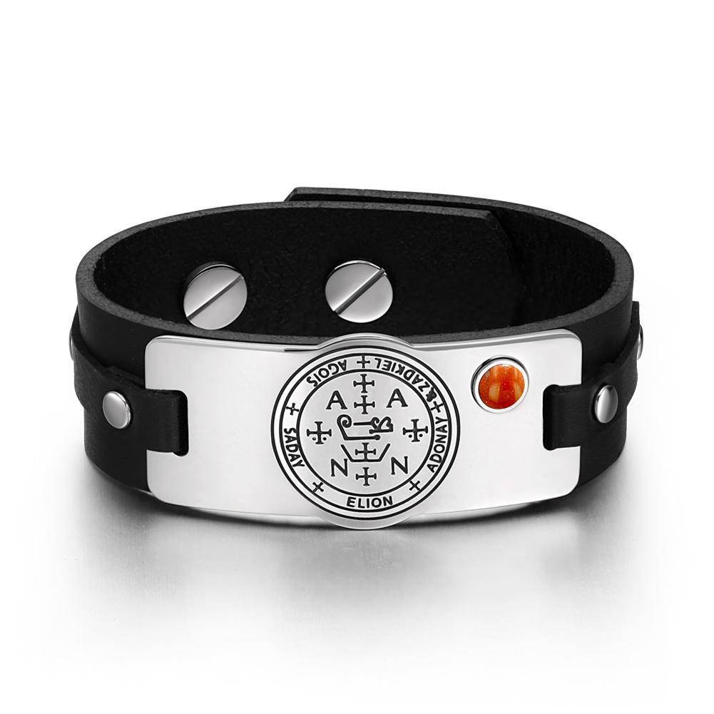 Archangel Zadkiel Sigil Magic Powers Amulet Red Jasper Gemstone Adjustable Black Leather Bracelet
