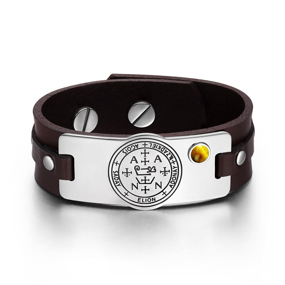 Archangel Zadkiel Sigil Magic Powers Amulet Tiger Eye Gemstone Dark Brown Leather Bracelet