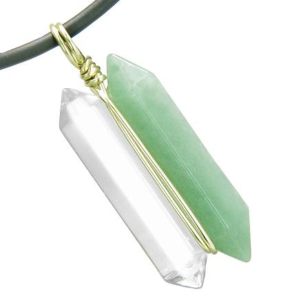 12K Gold Individual Amulet Double Wand Crystal Point Green Aventurine Quartz Gems Pendant Necklace