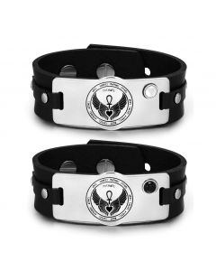 12 Guardian Archangel Amulets Love Couple White Simulated Cats Eye Simulated Onyx Leather Bracelets