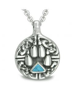 Amulet Celtic Shield Knot Wolf Paw Protection Charm Magic Triangle Turquoise Pendant Necklace